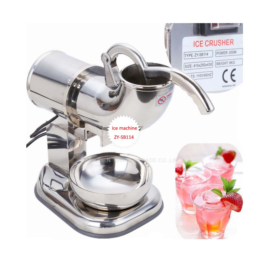 110v/220v ZY-SB114 Fully Stainless Steel Snow Cone Machine Ice Shaver Maker Ice Crusher Maker stainless steel electric ice shavers crusher chopper ice slush maker icecream snow cone ice block breaking machine eu us plug