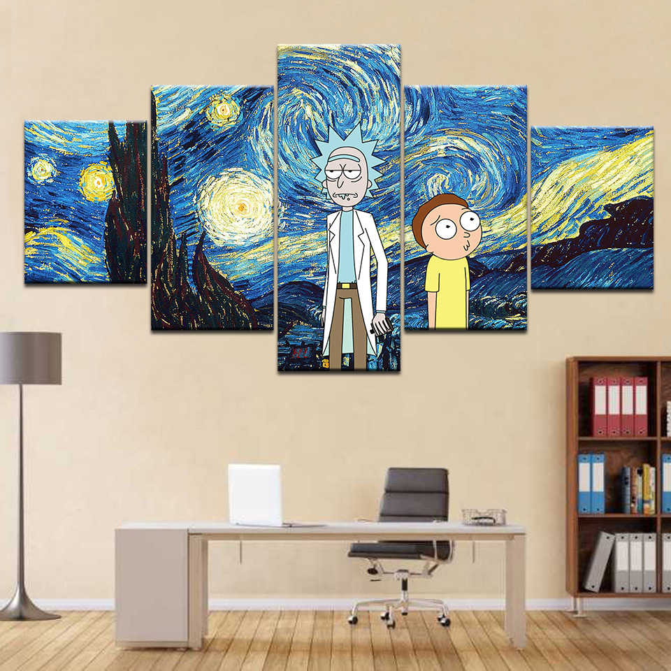 5panel Hd Printed Starry Night Van Gogh Wallpaper Anime Print On Canvas Art Painting For Home Living Room Decoration