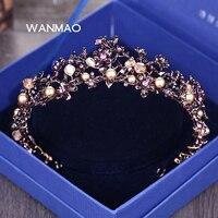 Luxo Atmosfera Jóias Roxo de Cristal Da Coroa Da Noiva Acessórios para O Cabelo Das Mulheres de Casamento Coroa Coroa Ornamento Raposa AccessoriesHA0108