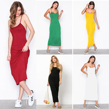 922e2e7ca30 Sexy Off Shoulder Long Slip Dress Bodycon Women Maxi White Yellow Red Green  Black Dress Backless Spaghetti Strap Party Dresses