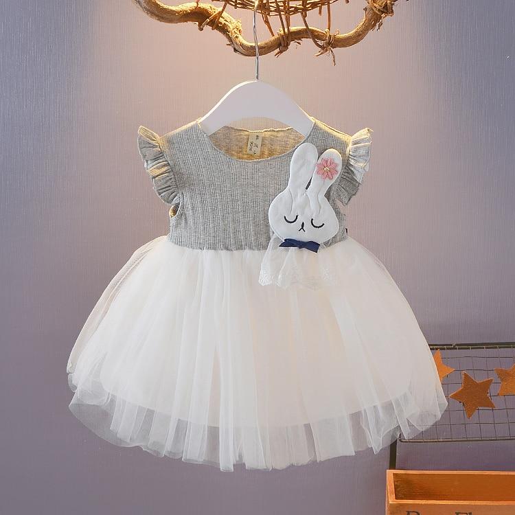 1a758fdbbaaf1 Nouveau-né enfant bébé fille robe robe infantil bebe Gris dentelle ...