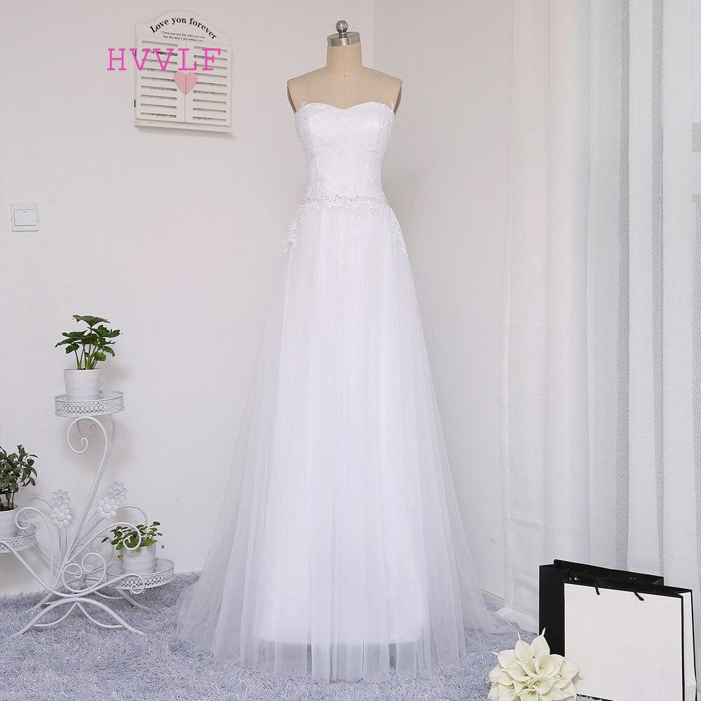 New Vestido De Noiva 2019 Beach Wedding Dresses A-line Sweetheart Appliques Beaded Vintage Wedding Gown Bridal Dresses