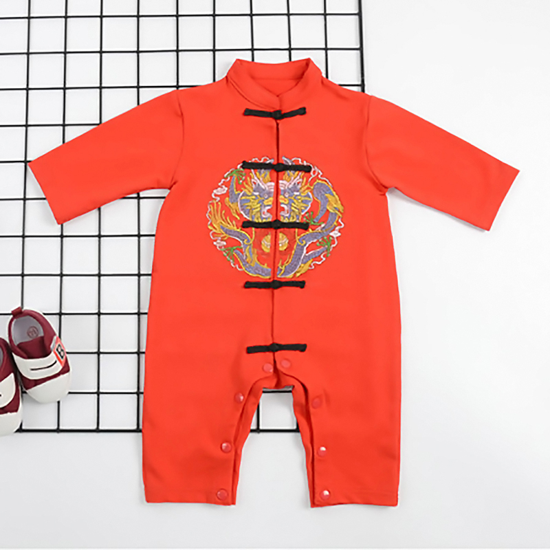 Thin Tang Suit Baby Jumpsuit Outdoor Romper Of Chinese Style Baby Boys Girls Clothes Tang Suit Chinese Traditional Red Dragon summer dresses styles chinese cheongsams for girls traditional chinese dress for children tang suit baby costumes