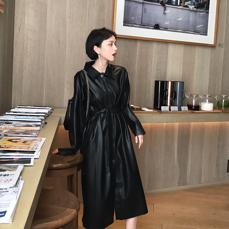 LANMREM 19 New Spring Fashion Long Type PU Leather Windbreaker Loose Single-breasted Long Coat Black Women's Clothing YG625 4