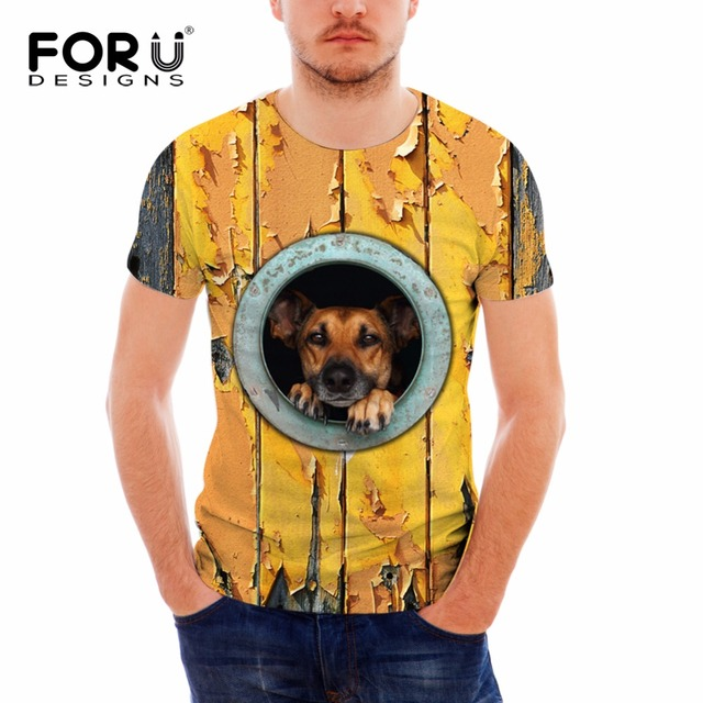 d84ff8ae6 FORUDESIGNS Men 3D Animal Dog Print T Shirt Casual Short Sleeve Tee Shirt  Cotton Fitness Clothing Male Crossfit Tops breathable