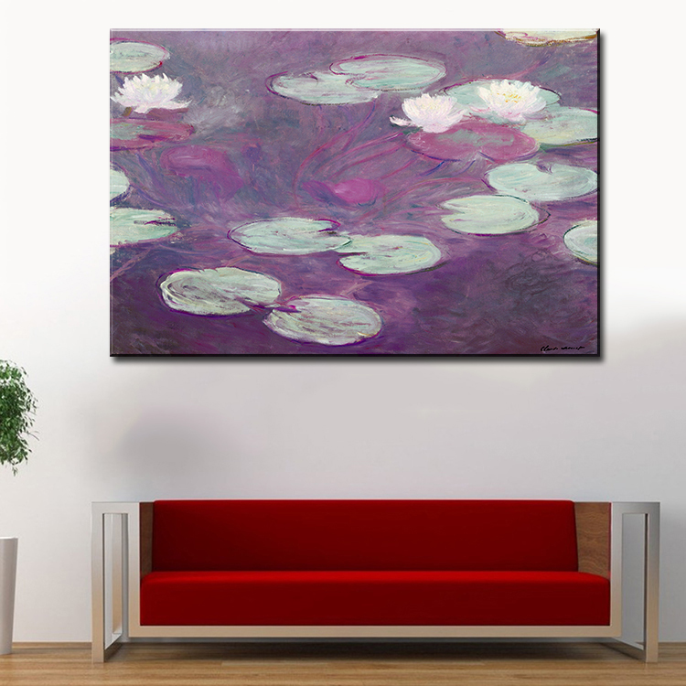Cool Living Room Art Part - 40: Wall Picture For Living Room Oil Painting Water Lilies, Pink, 1897-99 Claude
