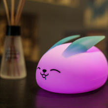 Multicolor Touch Control Soft Silicone Rabbit Pat Light 7 Colors Change Night Lamp Baby Nursery Bedroom Desktop Decoration