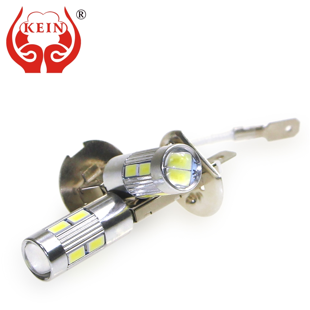 KEIN 2pcs H1 H3 Led Fog Light 10smd DRL Led Car Light 5630 5730 Daytime Running Vehicle External Lamp Bulb Day Driving 12V 6000K