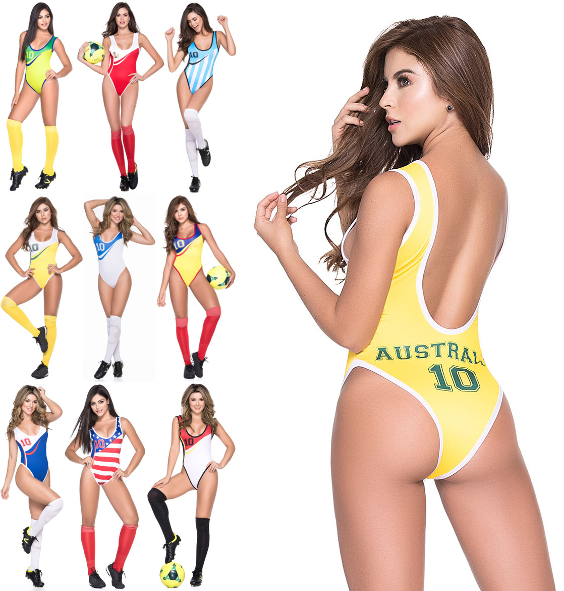 2019Football Cup Cheerleading Dress Vest Body Suit Sex Expose Back Night Club DS Performance Wear Cheerleaders Team 9 Countries