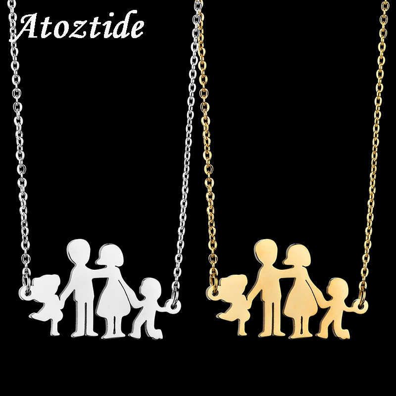 Atoztide Lovely Stainless Steel Cartoon Boy Girl Mom Dad Family Necklace Figure Parents Son Daughter Love Chain Necklace
