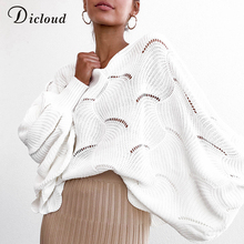 DICLOUD White Ballon Sleeve Oversized Sweater Women Autumn Winter 2019 Hollow Out Jumper Ladies Long Pullover Winter Clothing