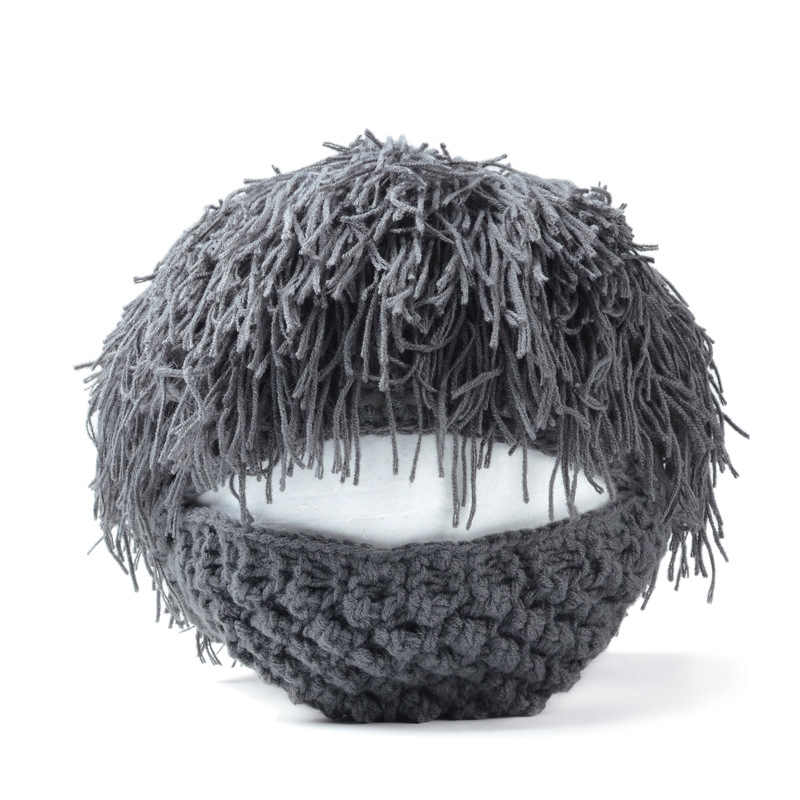 59b535508c3 ... 2019 New Wig Beard Hats Hobo Mad Scientist Caveman Handmade Knit Warm  Winter Caps Men Women ...