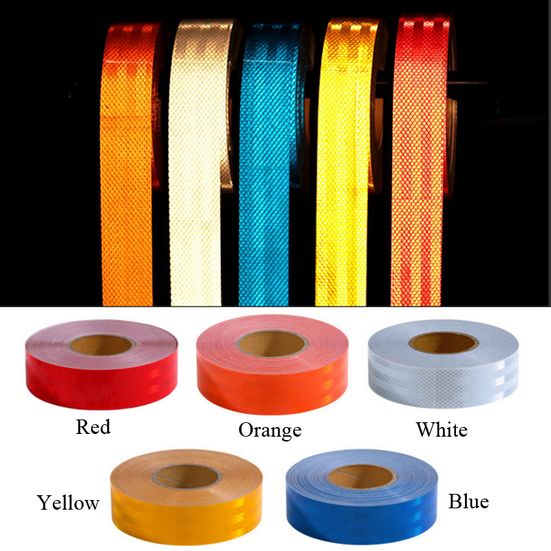 50mm X 5m PET Reflective Strips Car Stickers Car-styling Motorcycle Decoration Automobiles Safety Warning Mark Tape