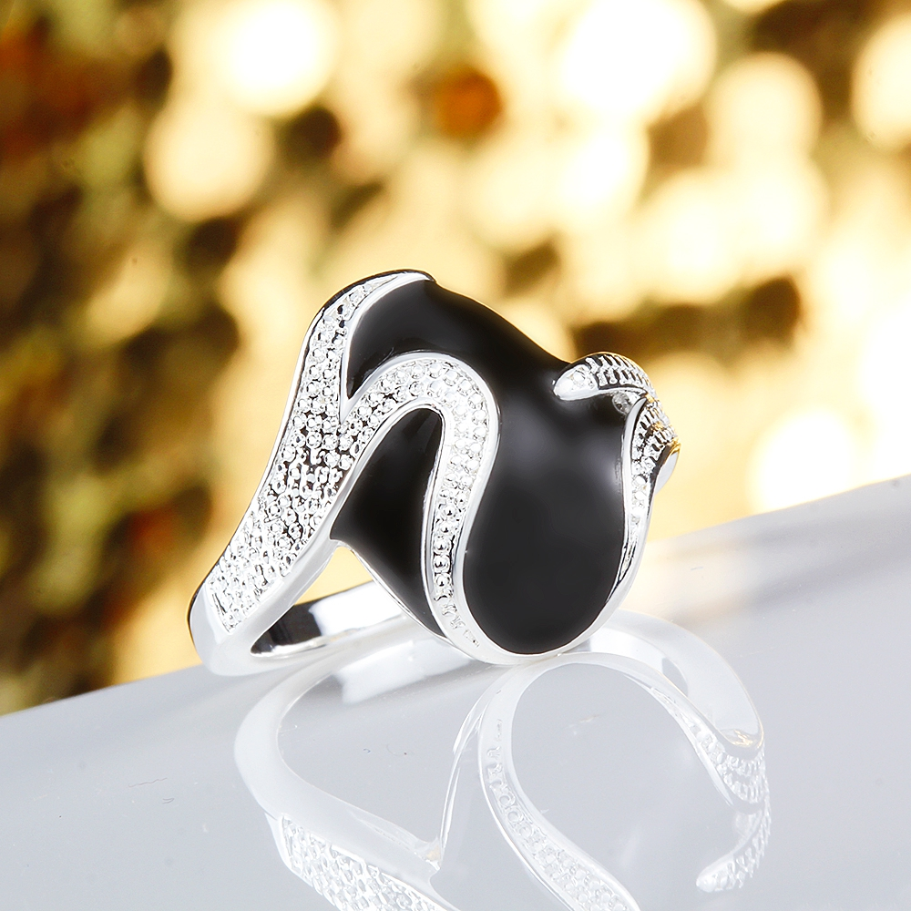 Anillos Lotus Silver-plated Ring Men Fashion Jewelry Anillos Oval Black Enamel Finger Rings For Women Mnel Masculino Size 7# 8#