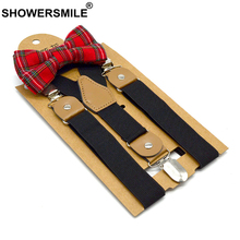 SHOWERSMILE Black Kids Suspenders Dress Baby Boy Suspenders Bowtie Suit Solid British Wedding Vintage Children Braces 65cm*2.5cm