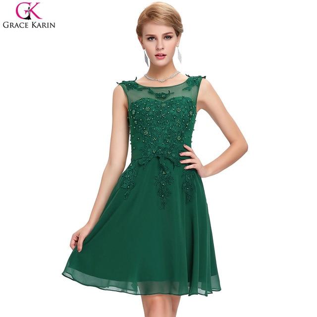 Dark Green Prom Dress 2017 Grace Karin Dresses Chiffon Beaded ...