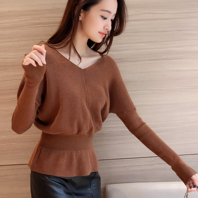 3724 nuevo invierno vestido de la cintura con cuello en V camisa de punto 41