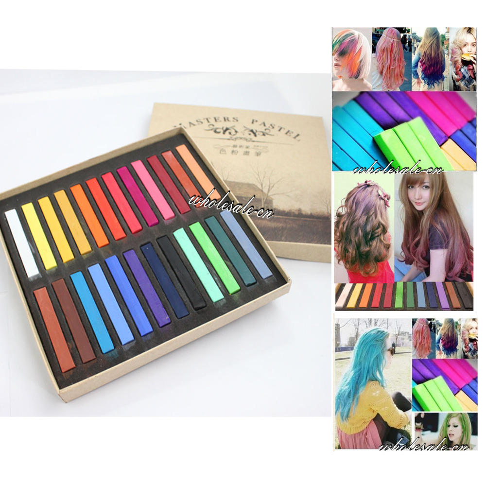 24 Colors DIY Fast Non Toxic Temporary Hair Chalk Dye Soft Pastel Kit New