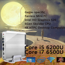 Игра конкретных Skylake Безвентиляторный Mini PC Win 10 Barebone corei5 6200 6500U i7 Intel HD Graphics 520 6Gen 4 К Настольных HTPC компьютер