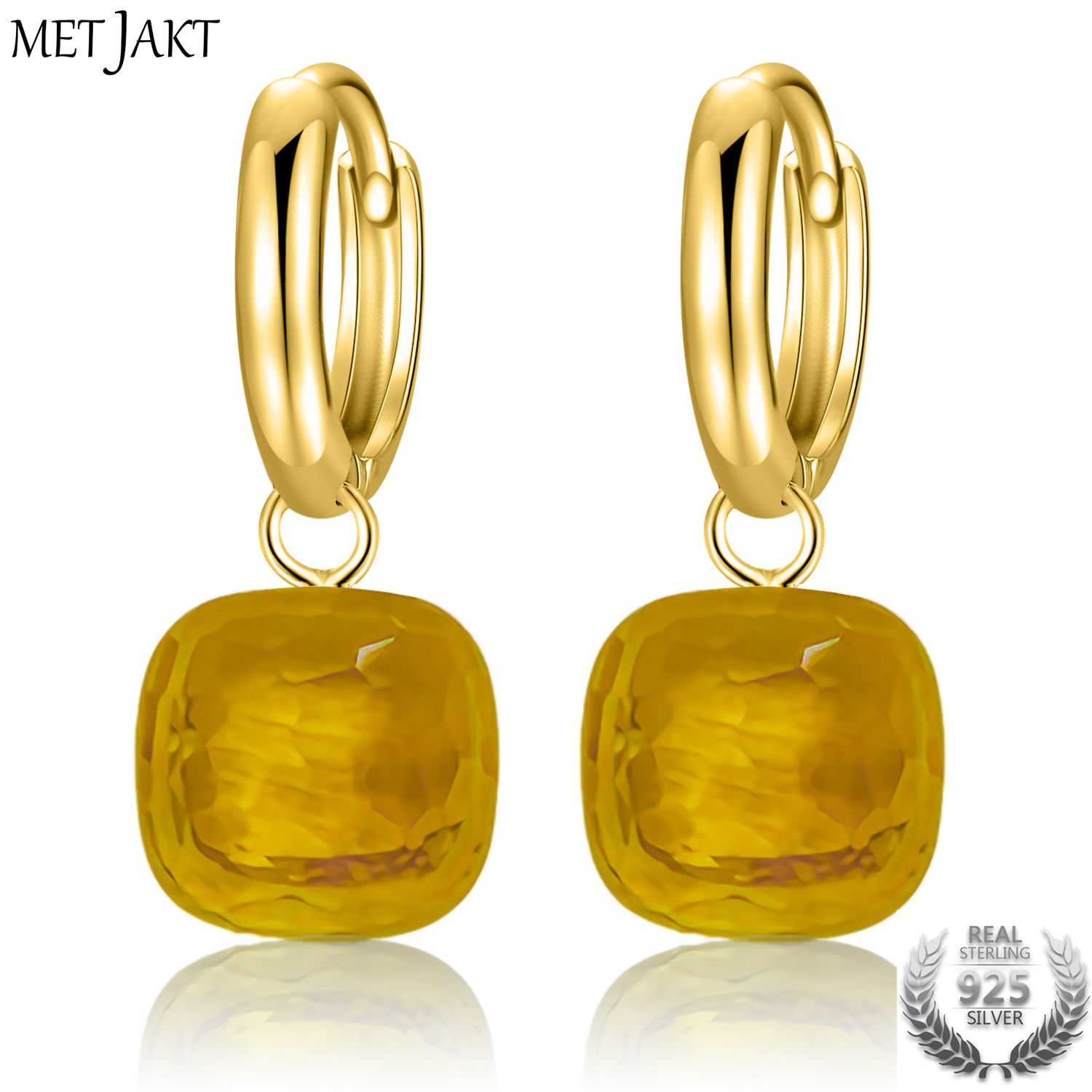MetJakt Vintage Earring with Yellow Topaz Stone Solid 925 Sterling Silver Gold Color Earring for Lady