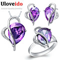 2017 Silver Romantic Wedding Dress Bridal Jewelry Sets Gift Items for Wedding Rings Necklace and Earrings Red Purple Zircon T072