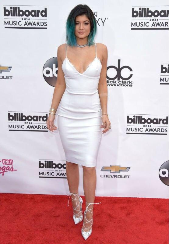 Kylie Jenner White Spaghetti Straps Column Knee Length Celebrity ...