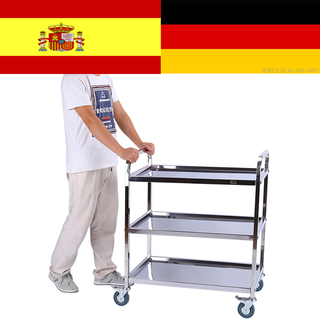 Us 51 32 35 Off 3 Tier Carrello Carrito Cocina Hotel Restaurant Trolley Clearing Trolley Large Stainless Steel Catering Kitchen Cart In Kitchen