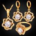 Mujeres Cubic Zirconia Joyería Flor de Rose Pendientes Collar Colgante Anillo de Oro Plateado Joyería Nupcial de La Boda Set PER1156