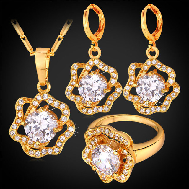 Women Cubic Zirconia Rose Flower Jewelry Earrings Ring Pendant Necklace Set Gold Plated Bridal Wedding Jewelry Set PER1156