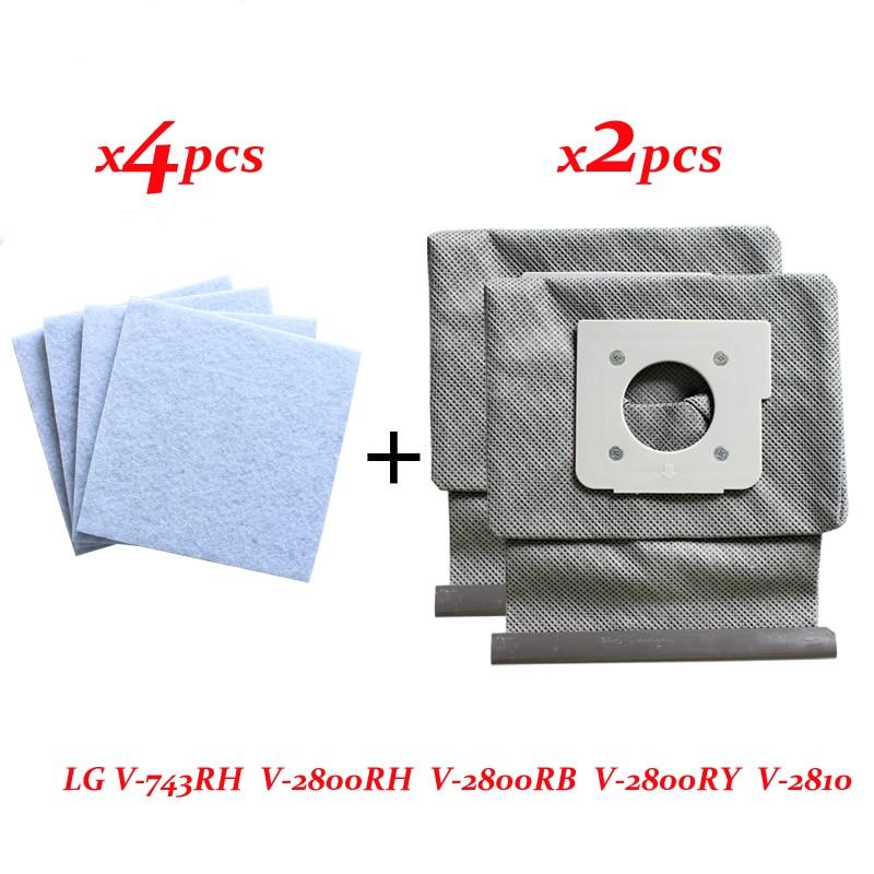цена на 4*motor cotton filter +2*Washable LG vacuum cleaner bags dust bag replace for LG V-743RH V-2800RH V-2800RB V-2800RY V-2810
