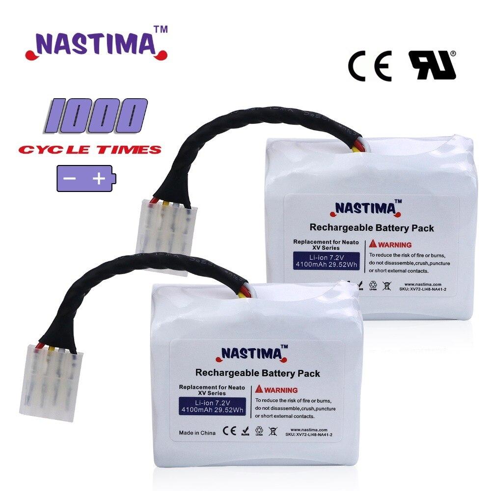 7.2 v 4100 mah 2 pcs Li-ion Batterie Pour Neato XV batterie XV11 XV12 XV14 XV15 XV21 XV Essentiel XV pro Robotique Aspirateur