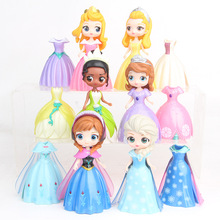 12pcs/set Isana Q Version 6 Princess Changing Dresses and Sophia Aurora Toy Princess Playing Doll Gifts