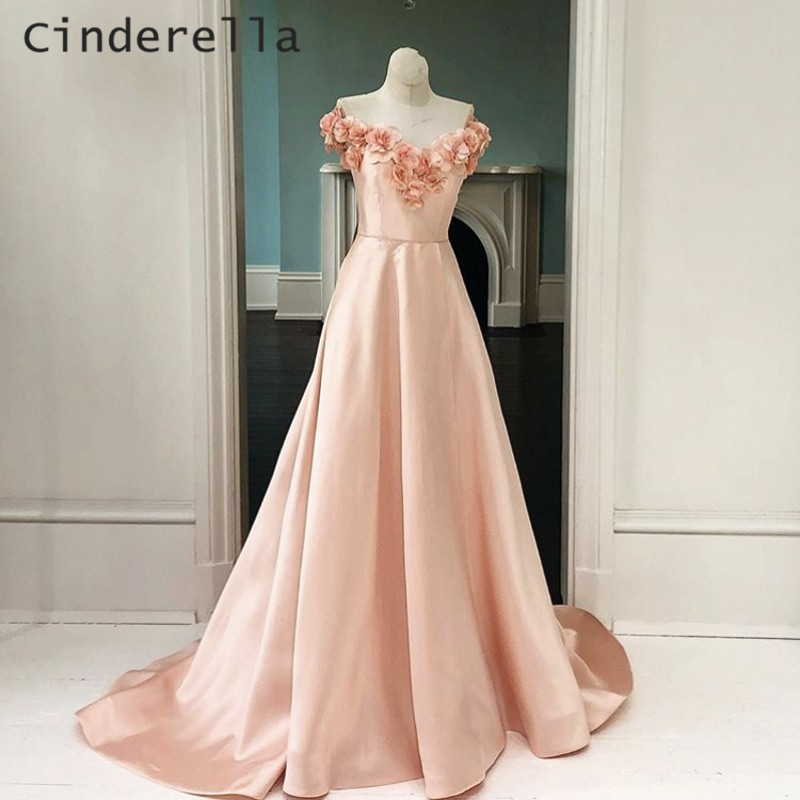 Cinderella Peach Hand Made Flower V-Neck Floor Length A-Line Zipper Back Satin   Prom     Dresses   Eleagnt Flower Party   Prom   Gowns