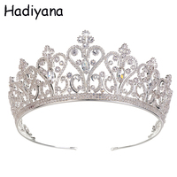 Hadiyana Cubic Zircon Tiara Elegant Copper Princess Crown Diadem Bridal Wedding Hair Accessories Jewelry Party Gift HG6091