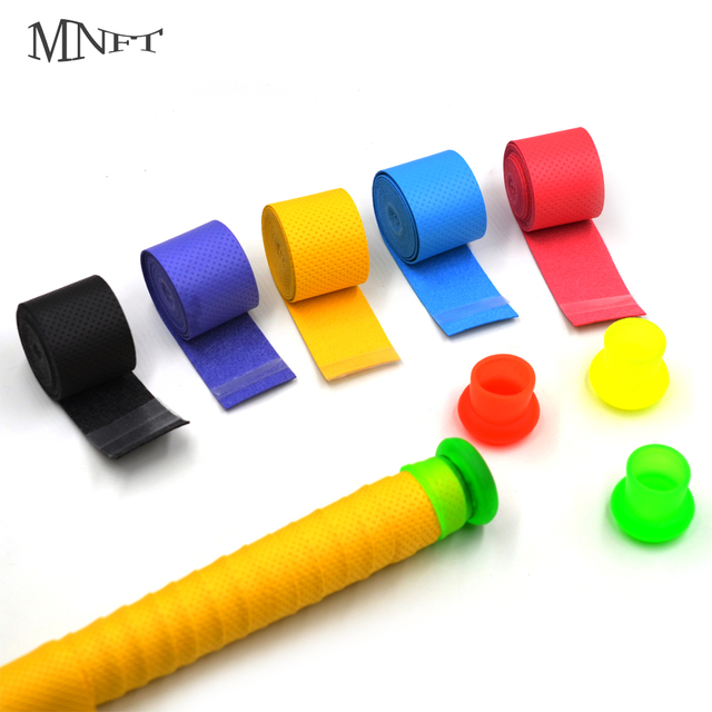 Cheap MNFT 2Pcs Anti-skid Sweat tape & Fishing Rod Stop Rubber Absorbed Wraps Badminton Racquet Over Grip Fishing Skidproof Overgrips