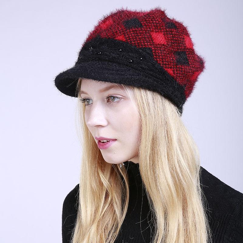 Women Knitted Visors Hat Fashion Girls Cashmere Warm Caps Students Leisure Lattice Cap Knit Plus Velvet Hat Adjustable B-8458