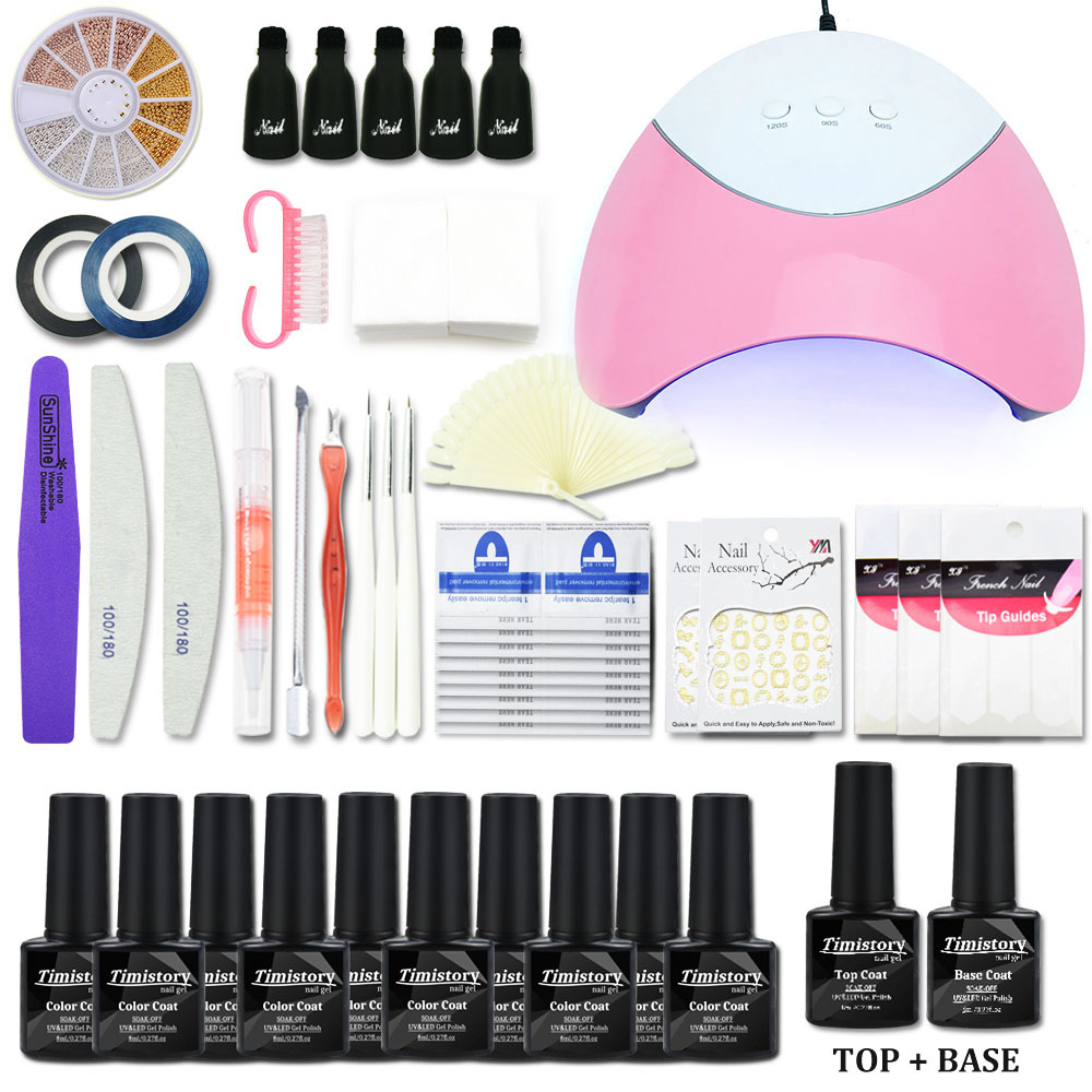 Nail Art Manicure Set 6W/36W UV LED Lamp Dryer 10 Color Gel Nail Polish Set Kit Nail Tool Gel Varnish Lacquer Manicure Tools Kit