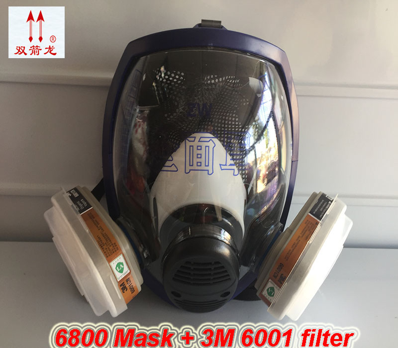 high quality Full Face Mask For 6800 7pcs suit Gas Mask Full Face Facepiece Respirator For Painting Spraying 9 in 1 suit gas mask half face respirator painting spraying for 3 m 7502 n95 6001cn dust gas mask respirator