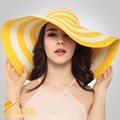 2016 Fashion Vintage Sun Hat  Cyperus Papyrus Lovely Yellow Striped Shading Hat  Wide Brim Lady Outside  Beach Cap Hat  B-3204