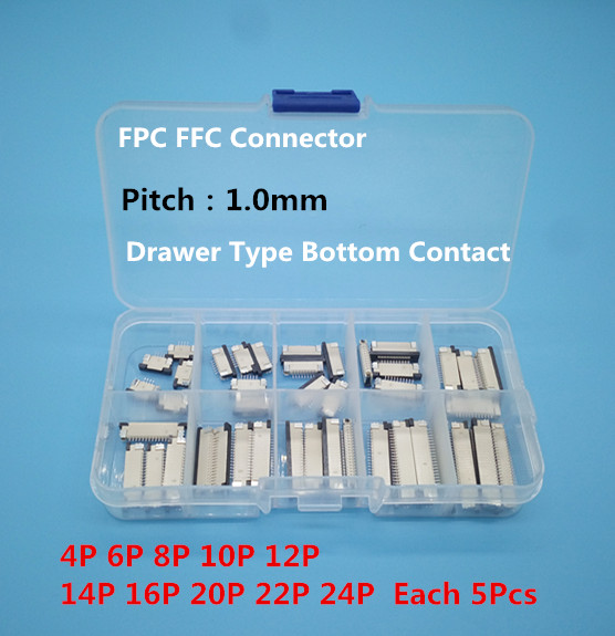 50pcs FFC FPC connector 1.0mm 4/6/8/10/12/14/16/18/20/22 Pin Bottom Contact Flat Cable Connector Socket Sets 10 pcs fpc ffc 1mm pitch 22 pin drawer type ribbon flat connector bottom contact
