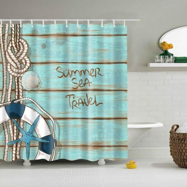 Multi Styles 3D HD Digital Seaside Printed Shower Curtains Waterproof Moisture Proof Bathroom Case