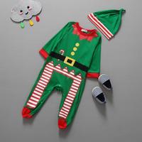 2015 Autumn Cute Baby Boys Girls Jumpsuit Santa Christmas Hat Romper 2pcs Jumpsuit Top Clothes Outfit