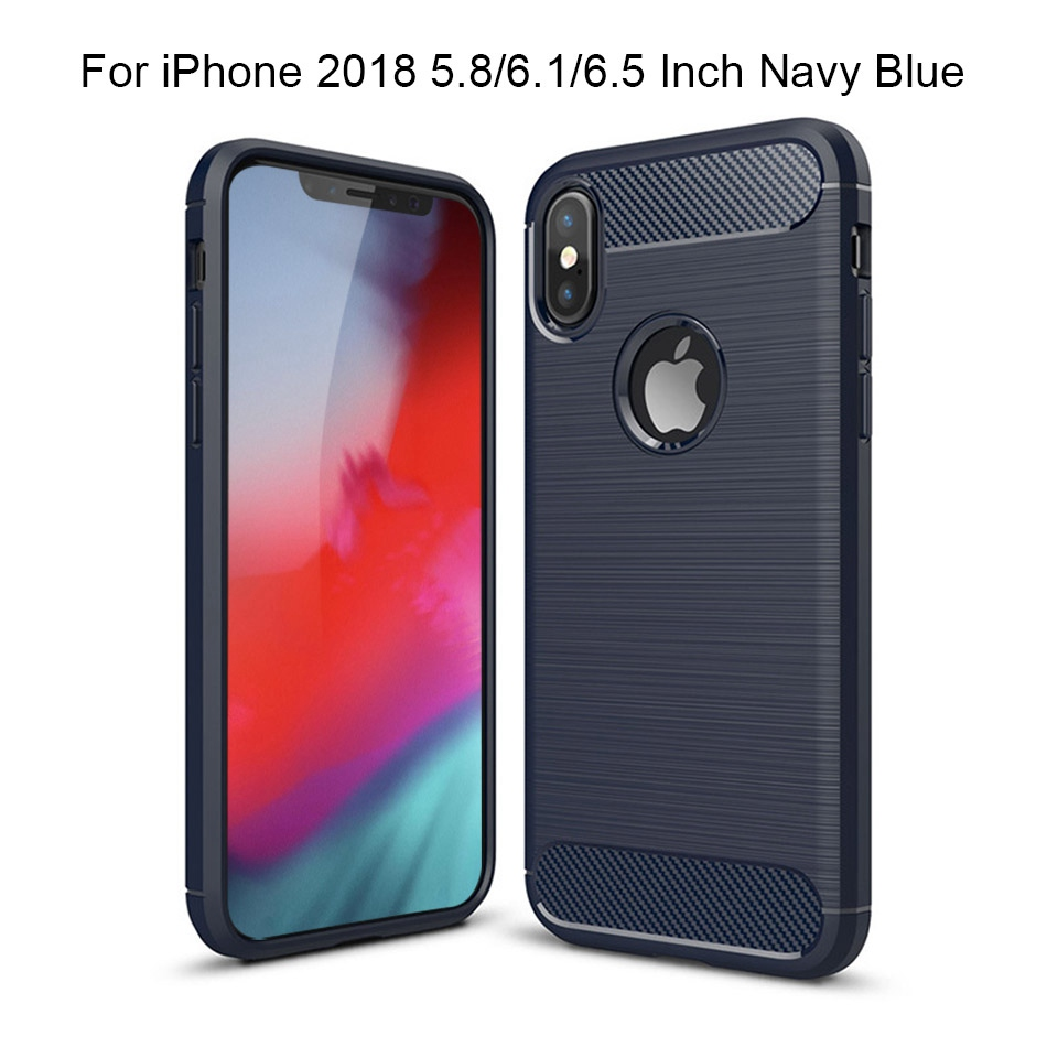 TOMKAS Phone Case Carbon Fiber Cover For iPhone XS Plus X 2018 5.8 6.1 6.5 Inch Soft TPU Silicon Case Protective Back Cover 2018 (17)