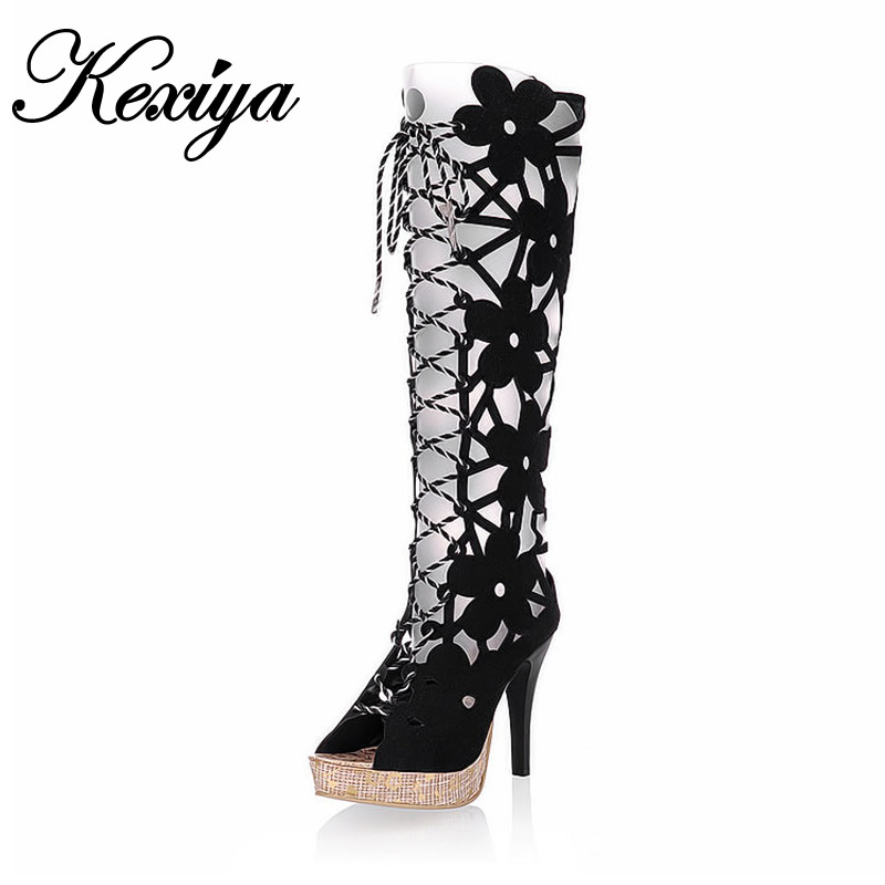 7 Color Big Size 31~43 Fashion women summer Boots Peep Toe lace-up high heel shoes Platform Cut-Outs Knee-High boots YZ-x9 new fashion summer shoes women shoes peep toe patent leather med heel women sandals cut outs gladiator small big size 32 44 0372