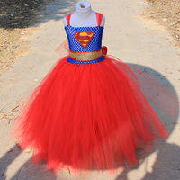 New Summer Girl Dress Superman Cosplay Costume For Child Kids Stage Performance Gift Super Man Costume