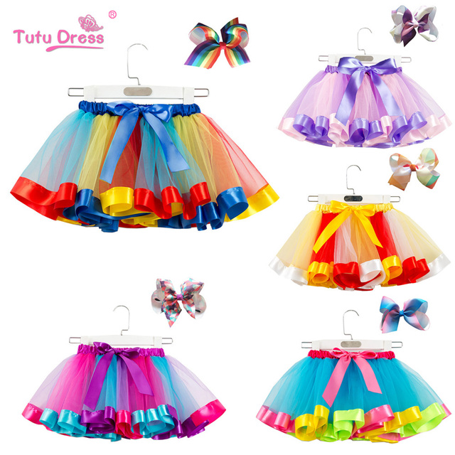 f0f17e38dd9a Fashion Sweet Toddler Kids Baby Girls Clothes Tutu Skirt Outfits Summer  Cute Children Tulle Skirt + Bow Rainbow Tutu Skirt