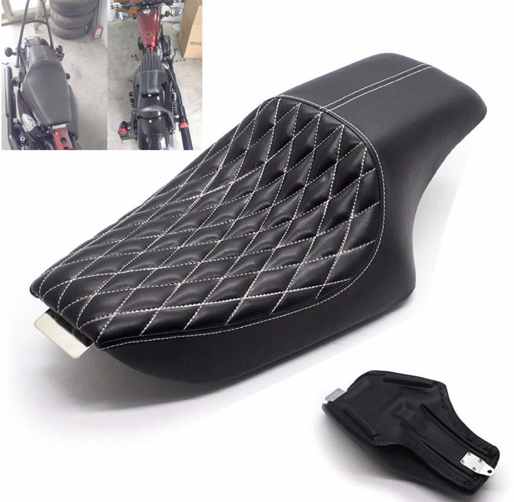 One Piece Rider Seat Diamond Stitched Driver Passenger Seats For Harley Sportster 883 04-16 Black