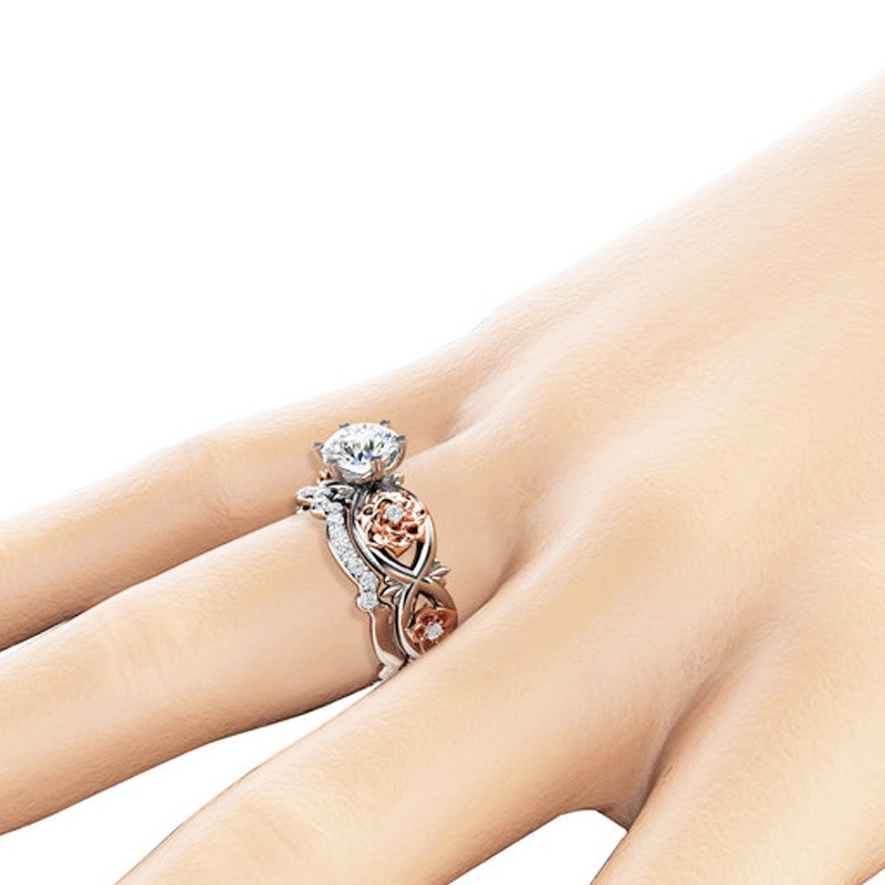 Crystal Jewelry Silver Gold Cubic Zircon Rose Flower Rings