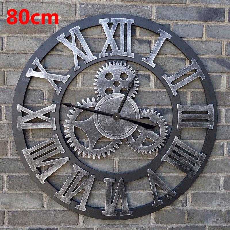80 cm Grand Mur Horloge Saat 3d Vitesse D'horloge En Bois Duvar Saati Mur Montre Reloj Pared Relogio De Parede Horloge murale Décor À La Maison