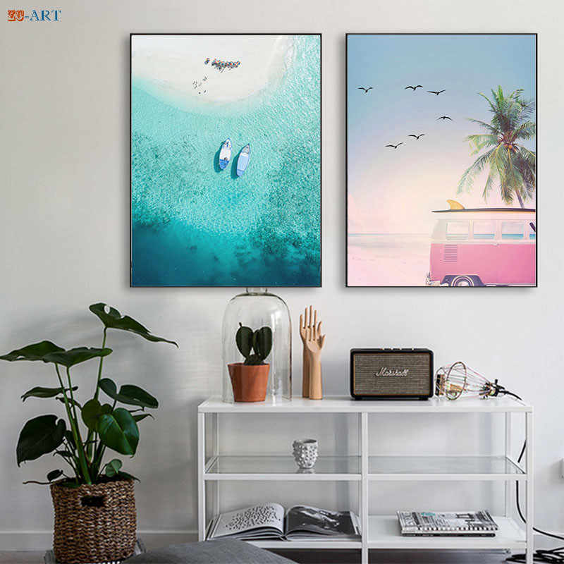 Ocean Beach Poster Waves Surfing Canvas Painting Landscape Wall Art Coastal Art Decor Nordic Decoration Home